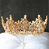 WHH* Mujeres Europa Retro Palacio De La Reina De Oro Barroco De La Corona / Tocado Ronda / Novia De Lujo De La Boda Ornament / Tiaras 1 Pieza