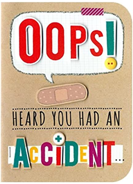 You Had An Accident Embellished Greeting Card Hand Finished Sugar Cube Cards Amazon Co Uk Office Products
