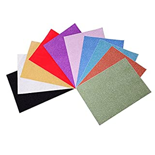 10 PCS Adhesive Glitter Sheet with Sparkling Sign Gemstone Metallic Color DIY Material for Hobbies & Crafts by Meowoo (Multicoloured)