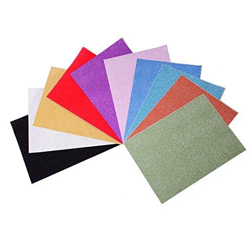 Goma eva con purpurina, tamaño 29.7 * 21 cm, 10 pliegos (Multicolor)-MeoWoo