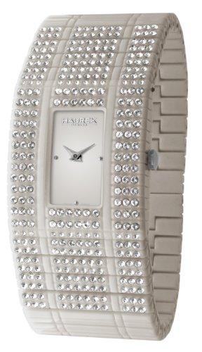Haurex Italy Women's GX368DGG Honey White Swarovski Crystal Plastic Watch