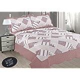 ForenTex- Colcha Boutí reversible, (S-2637), cama 90 y 105 cm, 190 x 260 cm, Estampada cosida, Rosa Palo, +1 cojín, colcha barata, set de cama, ropa de cama. Por cada 2 colchas o mantas paga solo un envío (o colcha y manta), descuento equivalente antes de finalizar la compra.