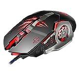 apedra A8Programmierbare Wired Gaming Maus, 4DPI Stufen verstellbar, 1200/1600/2400/Lasermaus, 6Buttons Atmen LED Licht 3D-Scrollrad Computer Maus für PC Laptop (schwarz)