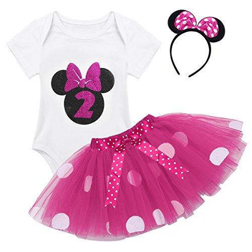 n Kleidung Set Kleider Baumwolle Strampler Prinzessin Kostüm Neugeborene Polka Dots Tutu Kleid mit Haarreif Rose mit 2 80-92/12-24 Monate ()