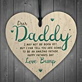 Red Ocean Father's Day From Bump Gifts Wood Heart Dad To Be Daddy Card Baby Son Daughter Present