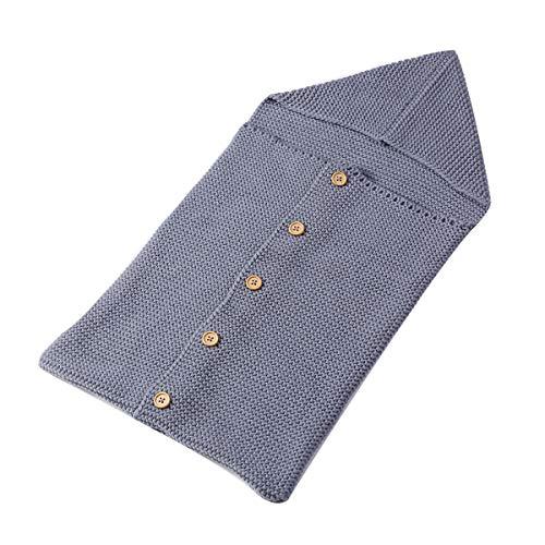 Imagen para Mochila para bebé, bolsa de dormir de abrigo de punto suave Swaddle con capucha botón de pecho Manta de cuna 15