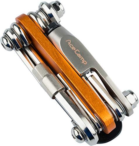 AceCamp All-In-One Bike-Tool, Multitool, Minitool, Multifunktionswerkzeug für Fahrradreparatur, 14 in 1 Set, 187 g, Orange, Silber, 2565
