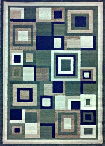 Rug 5 Green 7 Area X (Modern Area Rug 5 Ft. 2 In. X 7 Ft. 3 In. Green #125 by Nour Int)