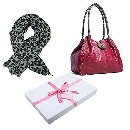 Grande borsa alla moda con tracolla e dettaglio bottone, in pelle sintetica, con sacchetto antipolvere e confezione regalo (Deep Taupe (BH386))
