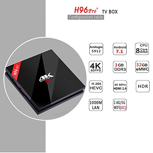 Drizzle H96 Pro  Android 7 1 TV Box 3G RAM 32G ROM 4K Ultra HD Smart TV Box with Amlogic S912 Octa-core Processor Bluetooth 4 1 WLAN 2 4Ghz H 265