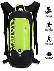 10L Mochilas de Hidratacion Ciclismo al Aire Libre de Unisex Multifuncional Impermeable de Poliester Para Viaje (verde)