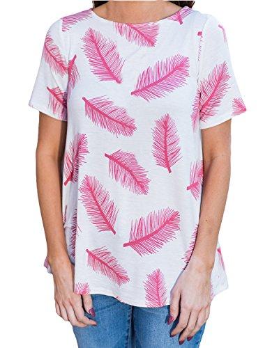 Auxo Damen Federn Kurzarm Sommer Party Club Oversize Lose T-Shirt Langshirt Tops Rosa
