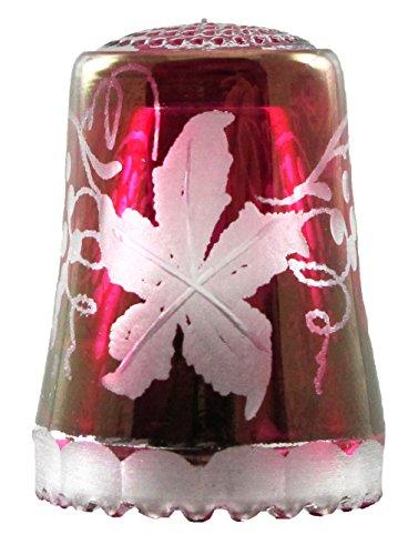 Ullmannglass Fingerhut aus Kristallglas in roten/lila Lüster mit Motiv Weinrebe