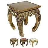 Opiumtisch Beistelltisch Couchtisch 40 x 40 cm Thailand Tisch Holz Gold Antik