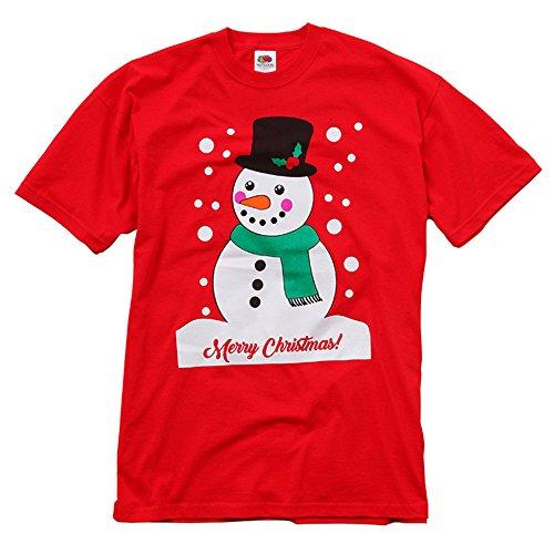 Maglietta a maniche corte natalizia (m) (pupazzo di neve)