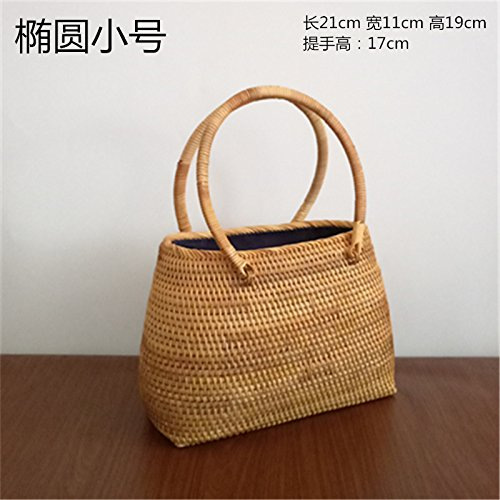 BAGEHUA Akito revestidos Tote Bag Bolso tejidas a mano accesorios té Canasta de Almacenamiento G (20cm * 8cm) A trumpet (27*11*19)