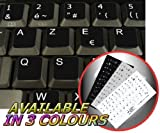 FRENCH AZERTY NON-TRANSPARENT KEYBOARD STICKER FOR LAPTOP DESKTOP WITH WHITE LETTERING AND BLACK BACKGROUND