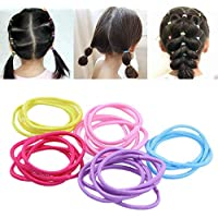 kentop 100Stk Haargummis Pferdeschwanz Halter Haarseil Stretchable Harrband für Mädchen (zufällige Farbe)