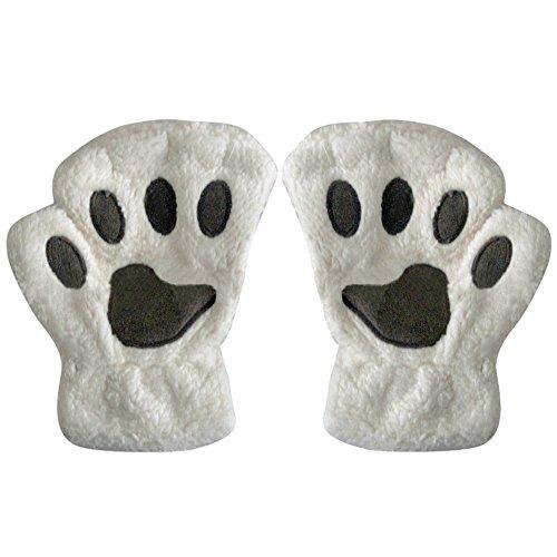 Plüsch Bärn Katzen Tatze Klaue kurze halbe Finger Handschuh Handgriffe Beige (Katze Krallen Für Halloween)