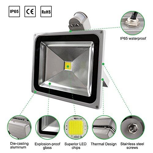 WHDZ LED Motion Sensor Flood Light, 50W Tageslicht weiss, 6500 k, 4000lm, 120 v, Outdoor Flut Scheinwerfer, Flutlicht, wasserdichte Sicherheits-Leuchten mit PIR [Energy Klasse a +] (120v Flut)