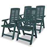 Festnight 4 Stk. Verstellbare Gartenstühle Kunststoff Gartenstuhl Liegestuhl Klappbar Stühle 60 x 61 x 108 cm Grün