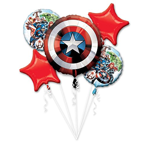 Amscan International 3484201 Folienballon, Gruppe, Bouquet: Avengers Shield (Rock Award Star)