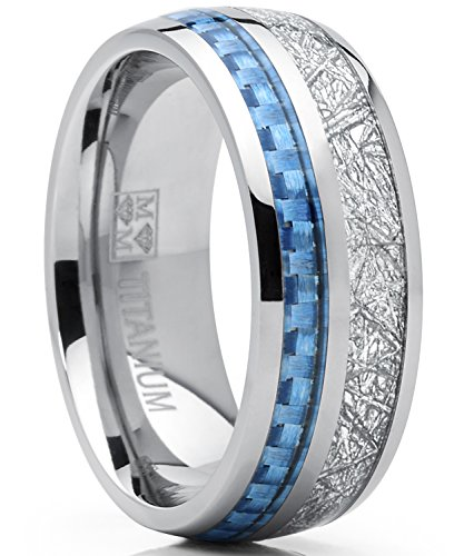 8mm Herren Titan Ring Hochzeitsband Verlobungsringe Trauringe mit blau Carbonfaser einlage und nachgeahmter Meteorit Bequemlichkeit Passen Größe 57 (Herren Titan Fashion-ringe)