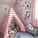 Kids Teepee Tent for Girls, Children Play Tent with Carry Case for Indoor Outdoor, Pink Stripe Cotton Canvas (1.5 m tall)