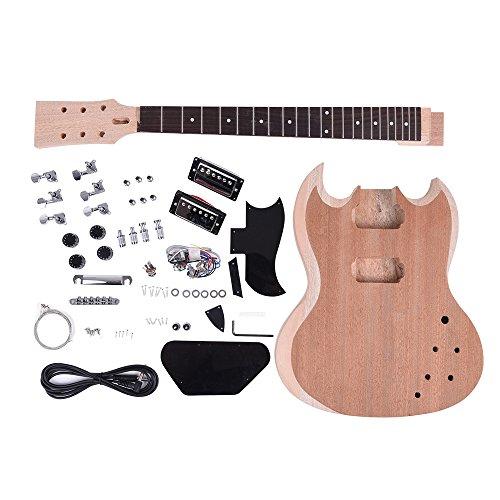 ammoon Kit Chitarra Elettrica fai da te DIY Unfinished Corpo di Mogano Collo Palissandro Tastiera - Nichel 7 String Chitarra