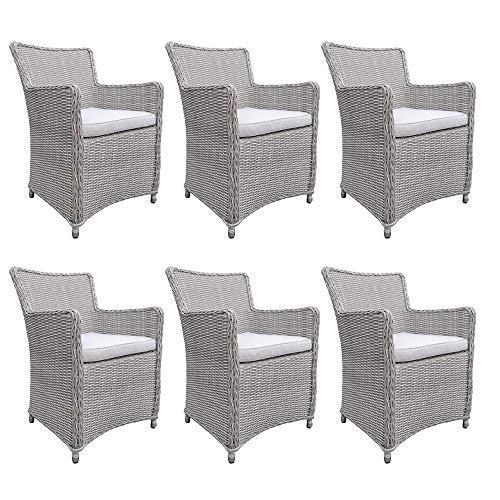 dasmöbelwerk Polyrattan Stuhl mit Sitzpolstern Rattan Stuhl Relax Sessel Gartenmöbel Gartenstuhl...