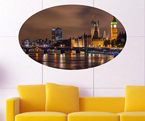 Skyline London Wandbild Hauptstadt England GB Wandaufkleber Wandsticker GB City Wohnzimmer Big Ben Aufkleber 11C018, Wandbild Größe C:96cmx58cm