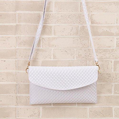 Ularma Damen Umhängetasche PU Leder Handtasche Abziehbar Handbag Magnet Knopf Weiß