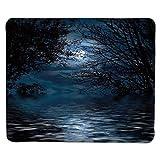 Tappetino per Mouse Cielo Notturno, Incantesimo Cerimonia degli incantesimi Atmosfera Foresta Full Moon Branches Immagine Decorativa, Blu Chiaro e Bordo Cucito Nero