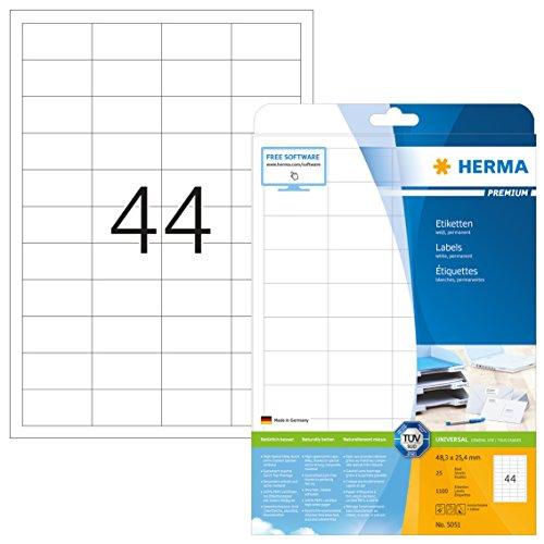 Herma 5051 Universal Etiketten (48,3 x 25,4 mm) weiß, 1.100 Klebeetiketten, 25 Blatt Premium DIN A4 Papier matt, bedruckbar, selbstklebend