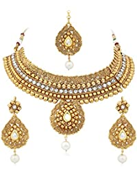 Meenaz Copper Traditional Jewellery Necklace Set With Gold Plated Earrings For Women Girls NL168