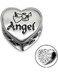 So Chic Joyas - Abalorio Charm Corazón ángel - Compatible con Pandora, Trollbeads, Chamilia, Biagi - Plata 925