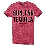 DEPARTED Herren T-Shirt mit Print/Aufdruck 3635-060 - New Fit Größe L, Red Melange