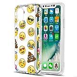 Eouine Coque iPhone XS, Coque iPhone X, Etui en Silicone 3D Transparente avec Motif Peinture [Anti Choc] Housse de Protection Coque pour Téléphone Apple iPhone XS/X - 5,8 Pouces (Emoji)