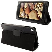 Funda de piel sintética con cierre magnético y función atril, color NEGRO para Google Nexus 7 (modelo 2013 - 2 generacion) - Línea Tablet de AQ Mobile