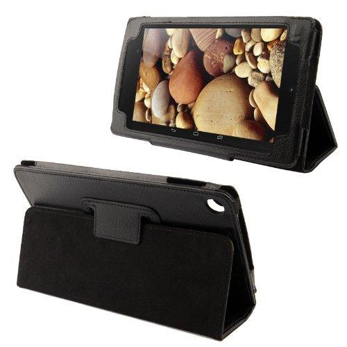 AQ Mobile Hülle schwarz für ASUS Google Nexus 7 (Modell 2013, 2. Generation) mit Magnetverschluss und Standfunktion aus Strukturiertem Kunstleder