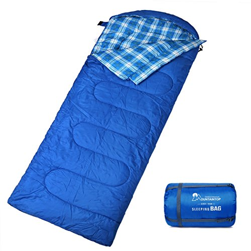 Mountaintop Schlafsack, ultraleicht mit kleinstem Packmaß Reiseschlafsack Sommerschlafsack leicht Deckenschlafsack (Coleman Schlafsack Blau)