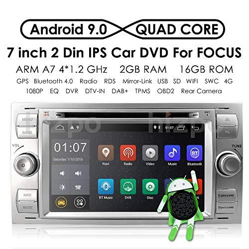 Radio Stereo Dash (hizpo Android 9.0 Quad Core Autoradio Dash Radio Doppel-Din Stereo Headunit für Ford Focus Mondeo S-max C-max Galaxy Unterstützung GPS Navigation Bildschirm Spiegel 4G WiFi OBD2 DAB+ SWC DVD Radio)