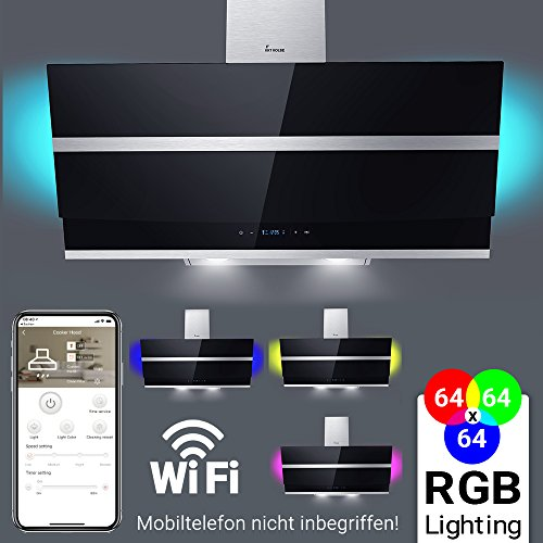 Dunstabzugshaube Wandhaube 90cm kopffrei / RGBW Beleuchtung / LED-Anzeige / Touch / extra leise / Smart APP