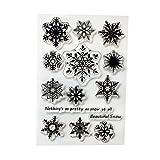Lailongp Motif flocon de neige en silicone clair Tampon en caoutchouc, Tampon transparent étirable Ensemble de scrapbooking Craft Agenda Card, DIY cadeaux...