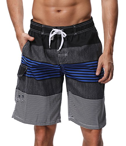 SHEKINI Herren Neu Badeshorts Badehose Beach Shorts Bermuda Shorts Sommer Strand Sport Shorts Größen 28-36 (32, Dunkelblau) (Salz Des Lebens T-shirt)
