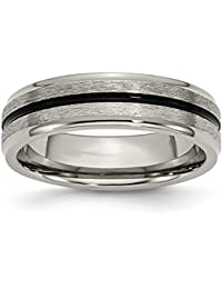 ICE CARATS Titanium Black Enamel 6mm Wedding Ring Band Size 13.00 Fashion Jewelry Gift Set For Women Heart