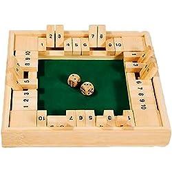 Gra matematyczna z dwoma kostkami dla 4 osób, bambus: Shut the box
