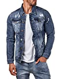 EightyFive Herren Denim Jeans-Jacke Destroyed Zerrissen Slim Fit Blau EF3641, Größe:XL, Farbe:Blau