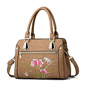 LSAltd Frauen Retreo Blumendruck Tasche Damen Mode Zipper Handtasche Umhängetasche Messenger Bag Umhängetasche Reisetasche