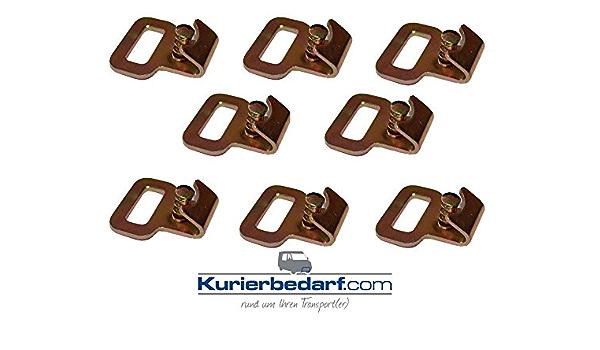 8x Flachhaken Mit Gefedertem Sicherungsstift Z B Für Stäbchenzurrschienen Auto